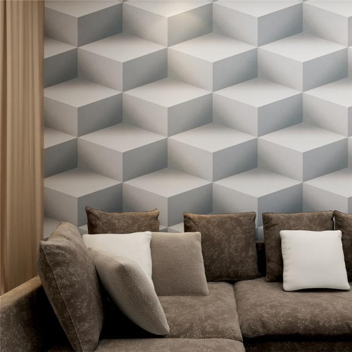 Papier peint 3d avec géométrie à l'intérieur du salon