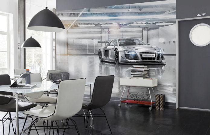 Fond d'écran 3D avec une voiture dans la salle à manger