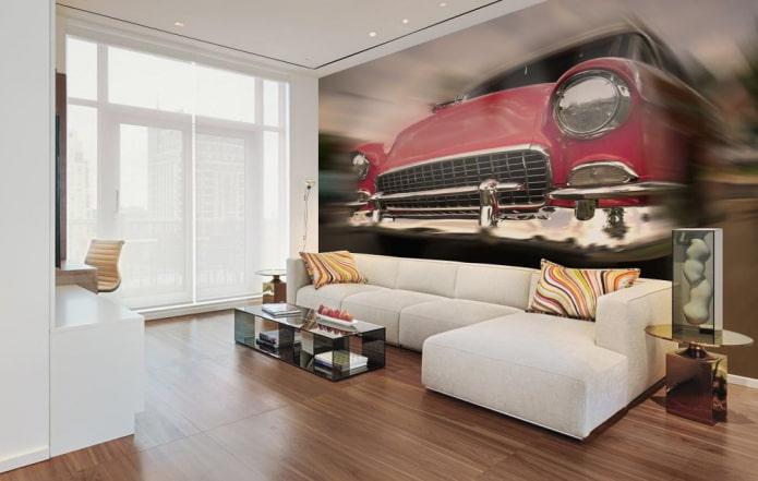 Fond d'écran 3D avec une voiture dans le salon