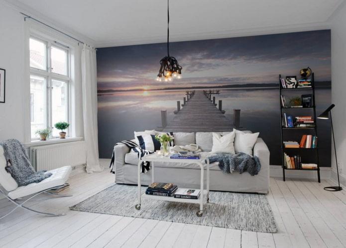 Papier peint 3d avec une perspective à l'intérieur du salon