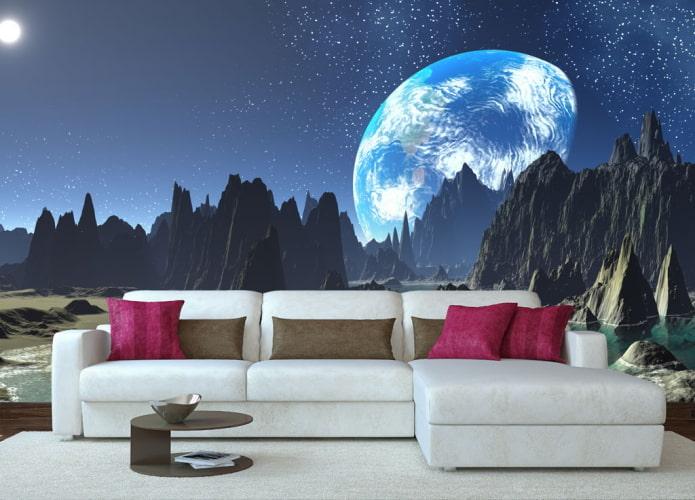 Fond d'écran 3D représentant l'espace dans le salon
