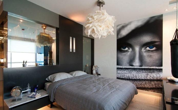 Fond d'écran 3D avec l'image d'une fille à l'intérieur de la chambre