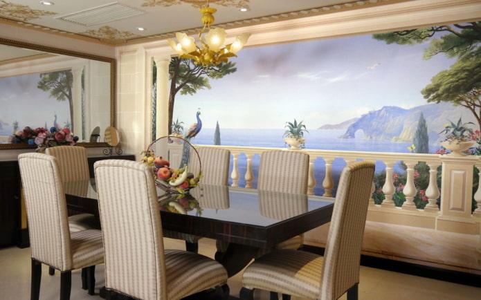 Fond d'écran 3D avec une fresque à l'intérieur de la salle à manger