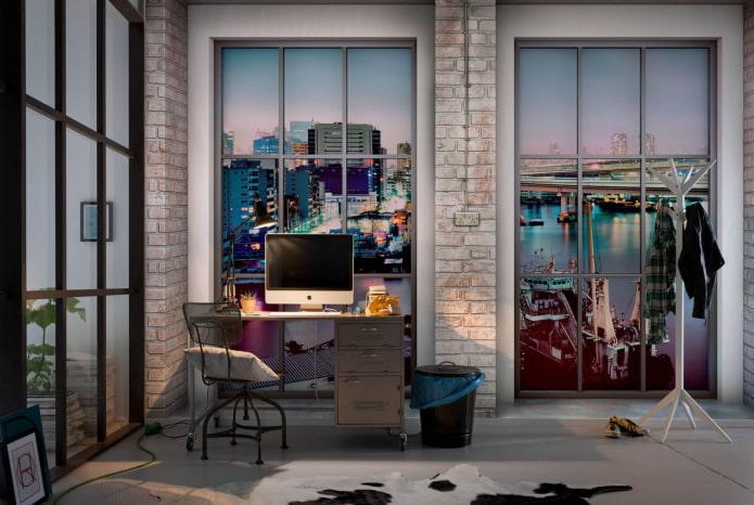 Fond d'écran 3D avec vue depuis la fenêtre du bureau