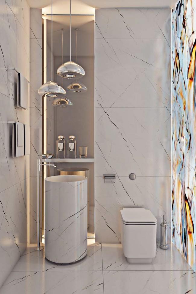 Conception spectaculaire de la salle d'hygiène avec dalle d'onyx éclairée