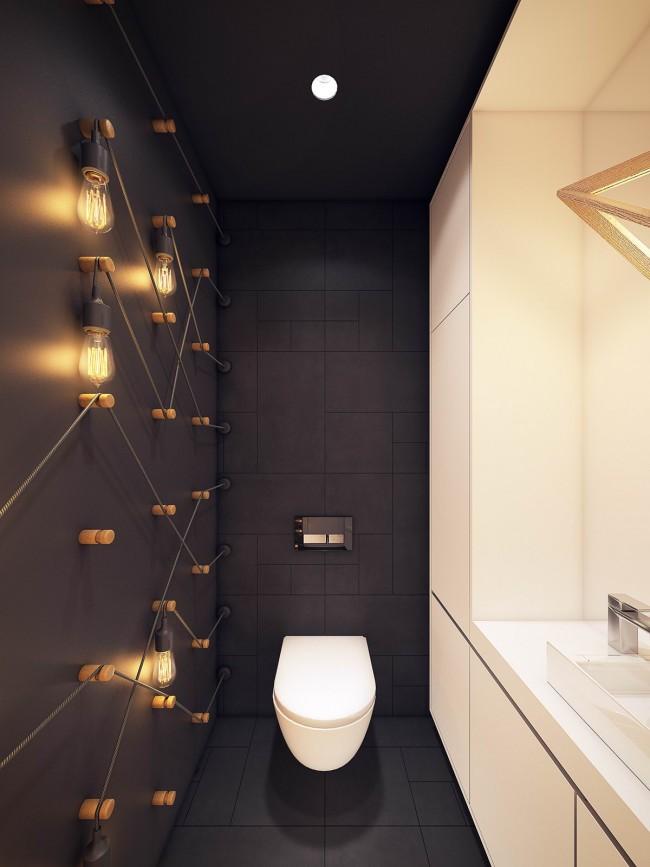 Projet de design: intérieur de toilette élégant avec une finition noire et blanche mate.  Sur la photo - l'idée originale avec des lampes Edison sur le mur, d'un point de vue technique, controversée, mais faisable