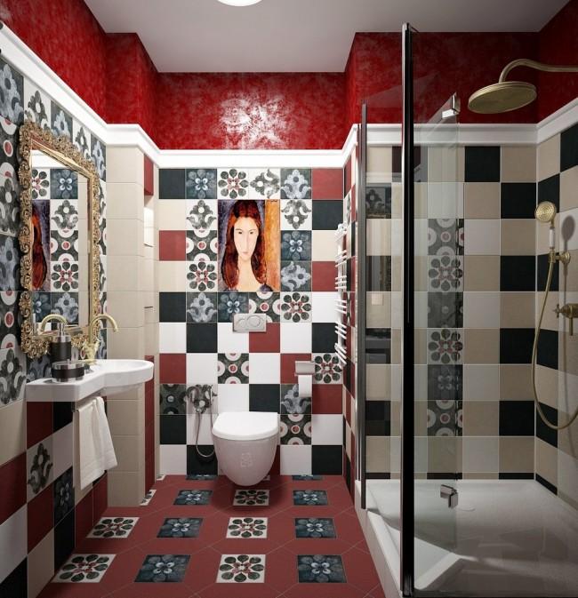 Intérieur intéressant d'une toilette avec douche dans le style fusion