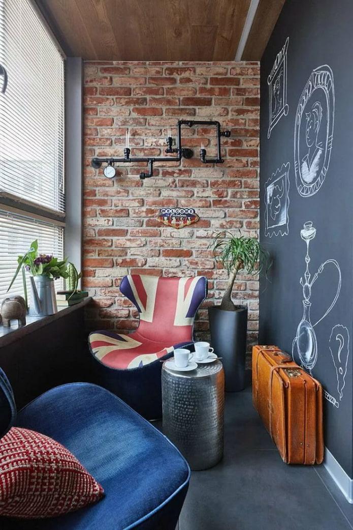 Balcon en ardoise de style loft