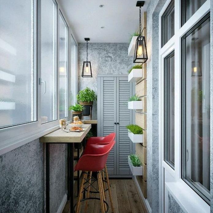 Balcon de style loft avec bar
