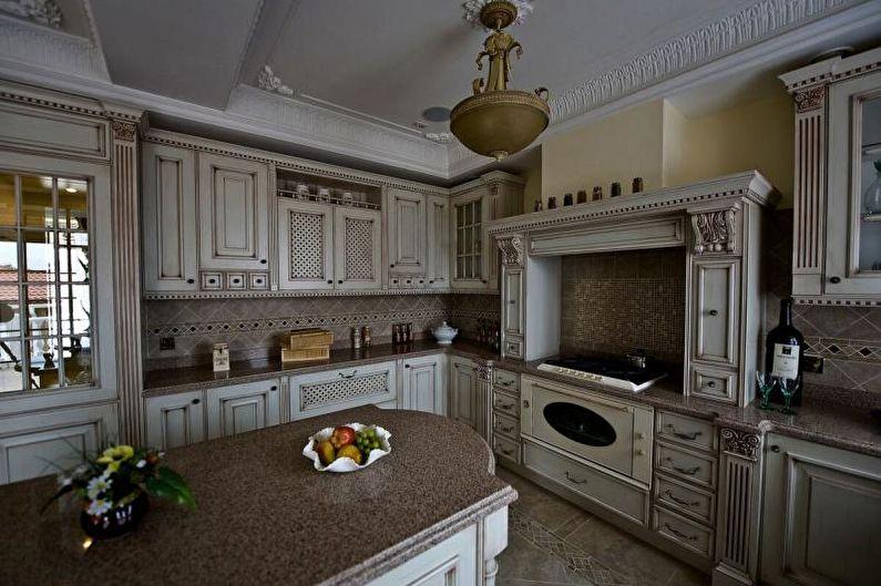 Cuisine grise de style classique - Design d'intérieur