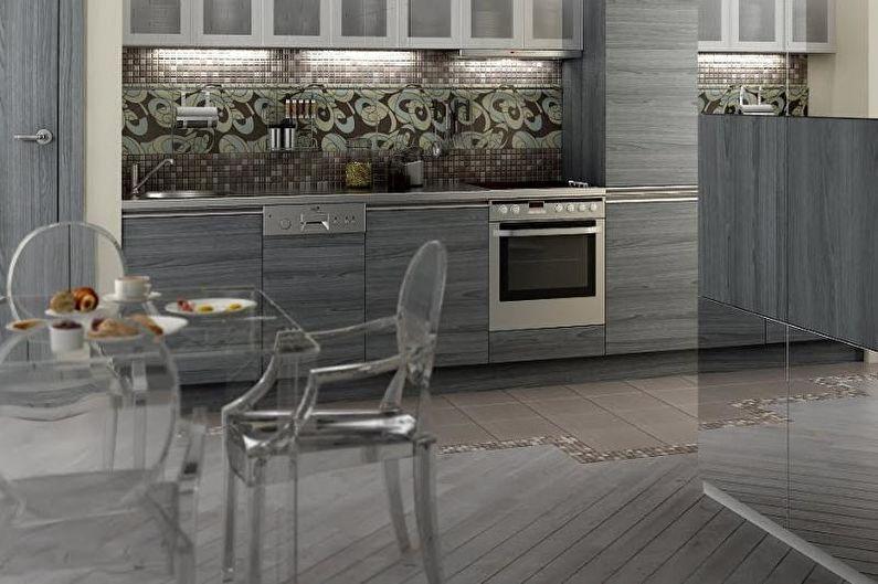 Conception de cuisine grise - Fini de plancher