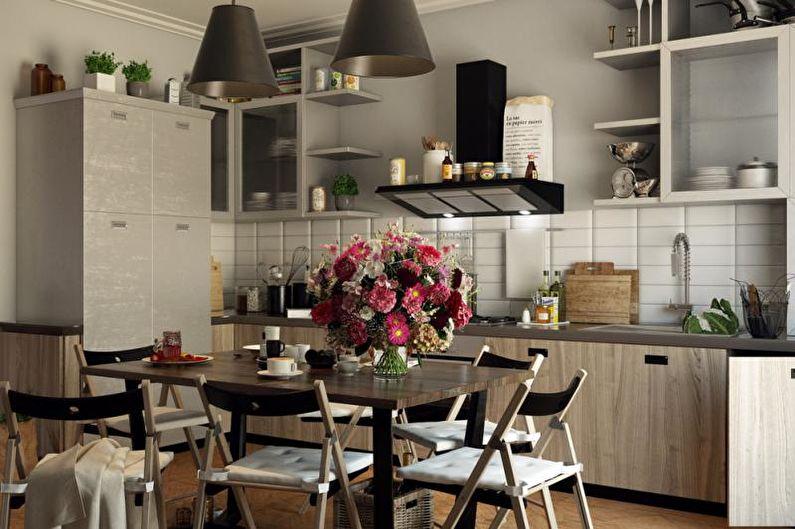 Cuisine grise de style éclectique - Design d'intérieur