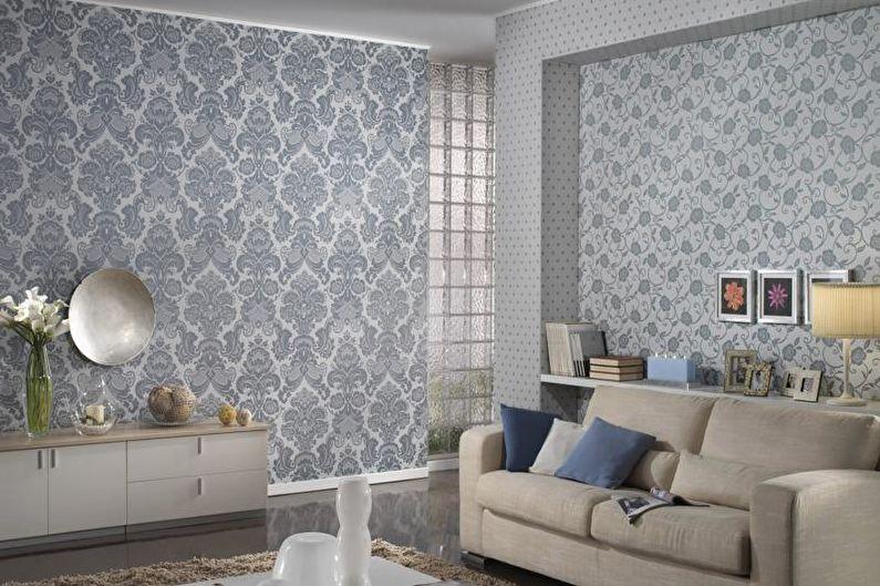 Papier peint textile - Papier peint gris à l'intérieur