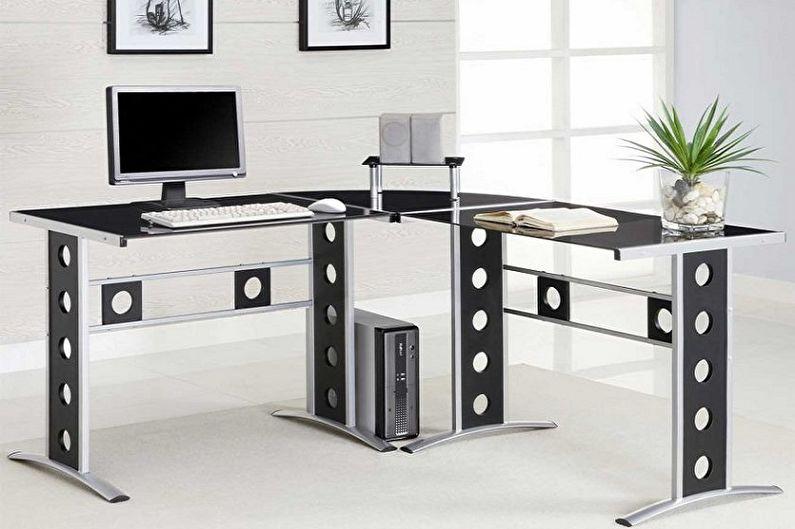 Bureau d'ordinateur d'angle en métal