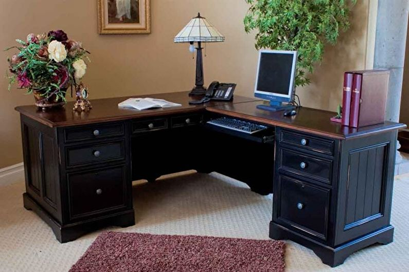 Table d'ordinateur d'angle en bois