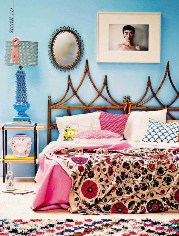 Tête de lit fantaisie en bambou pour intérieurs bohèmes ou éclectiques