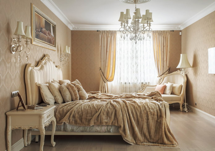 finition de la chambre dans un style classique