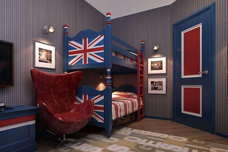 Chambre d'enfants pour deux garçons dans le style anglais - Design d'intérieur