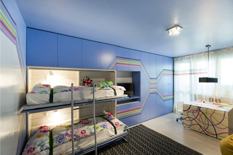 Chambre d'enfants pour deux garçons dans un style high-tech - Design d'intérieur