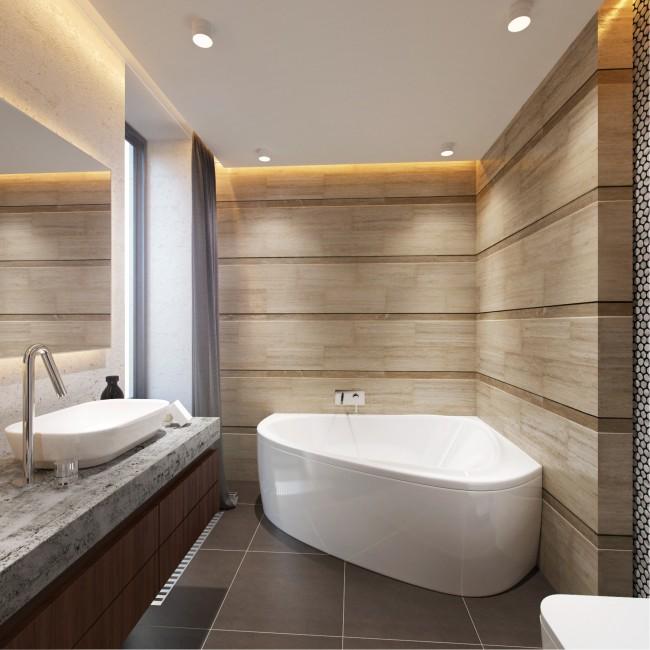 La baignoire est la pièce maîtresse de tout intérieur de salle de bain.  L'emplacement des communications joue également un rôle énorme.  Par conséquent, en commençant à réfléchir au design de notre salle de bain, nous le prenons comme une sorte de point de départ.