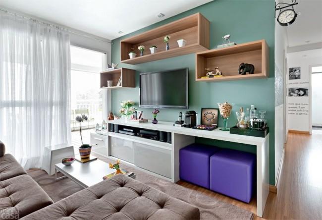 La turquoise pastel fonctionne bien dans le salon