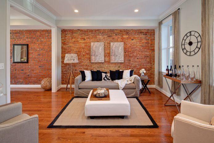 Brique dans un intérieur de salon moderne