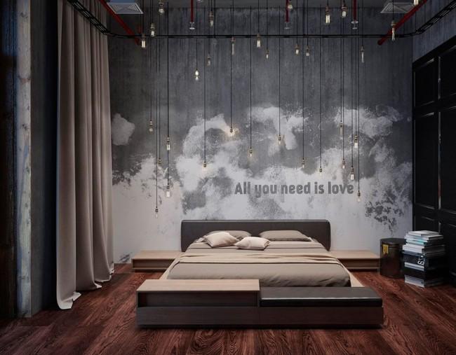 L'une des options pour décorer une chambre dans le style loft.  Retenue et style