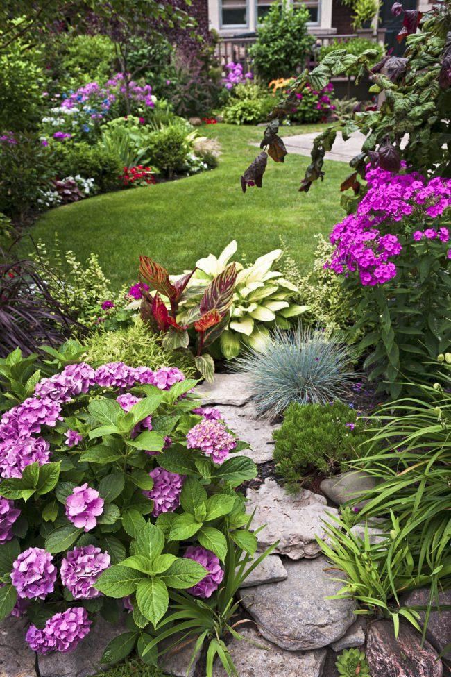 Pierres soigneusement pliées en forme de demi-cercle dans une composition avec des plantes à fleurs - un club spectaculaire dans votre cour