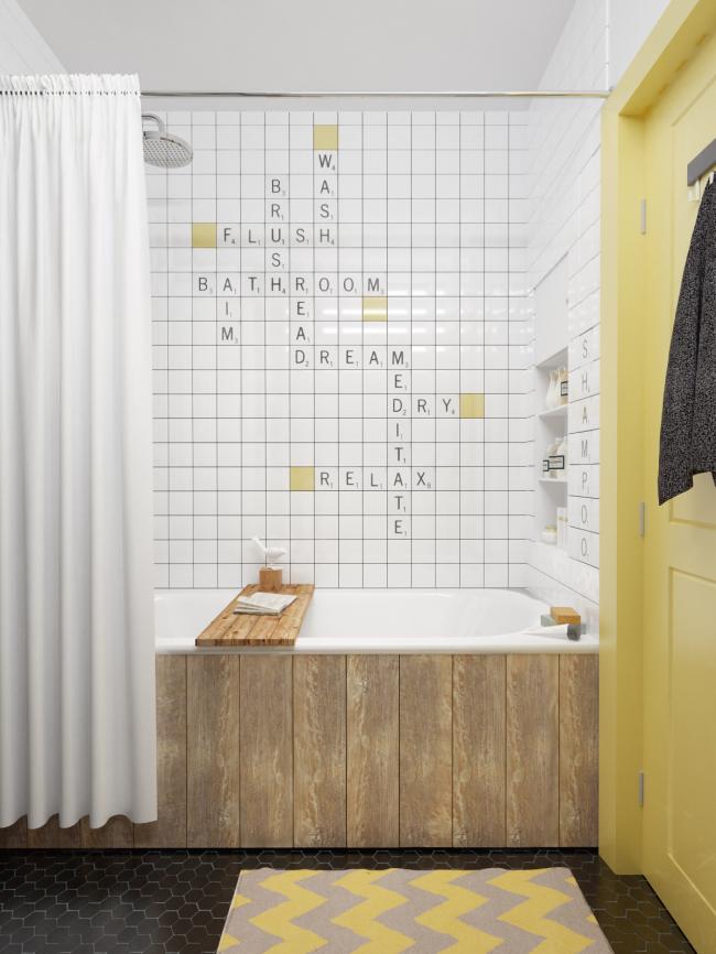 Les écrans de salle de bain en planches de bois confèrent à la pièce un charme particulier et une touche de style rustique