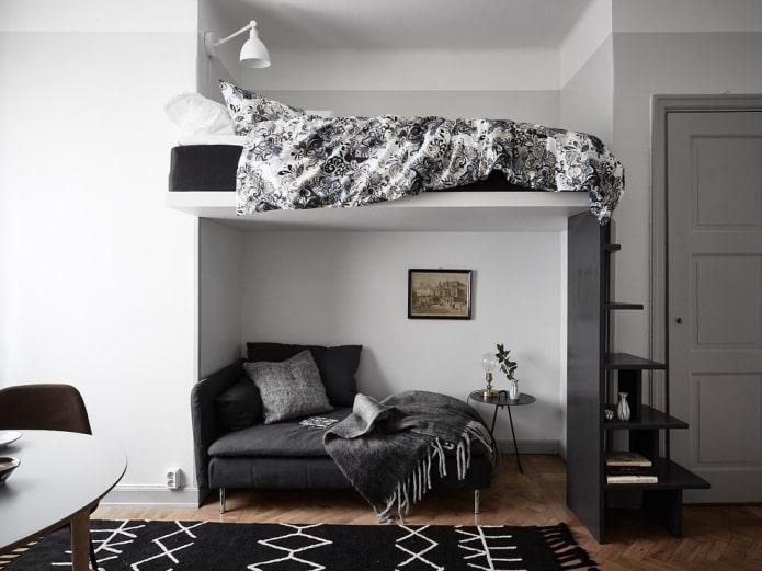 lit mezzanine double à l'intérieur