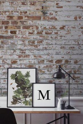 Papier peint brique dans un intérieur moderne