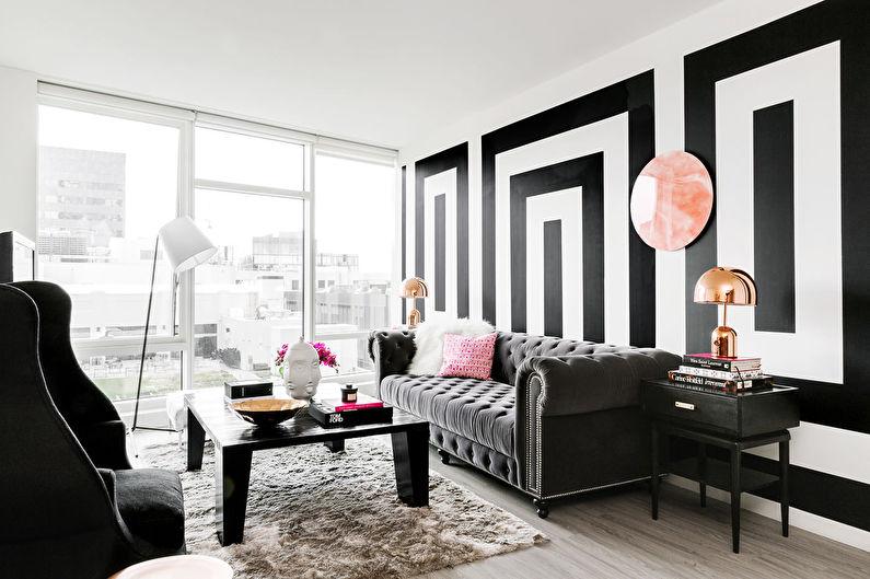 Papier peint noir et blanc à l'intérieur: 80 idées de photos
