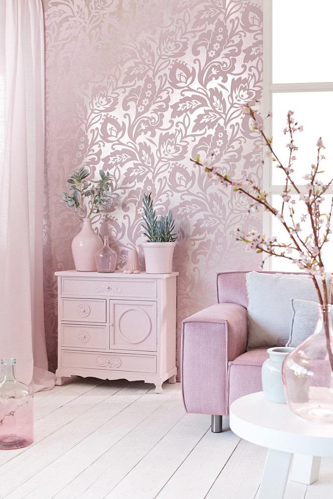 papier peint rose argenté