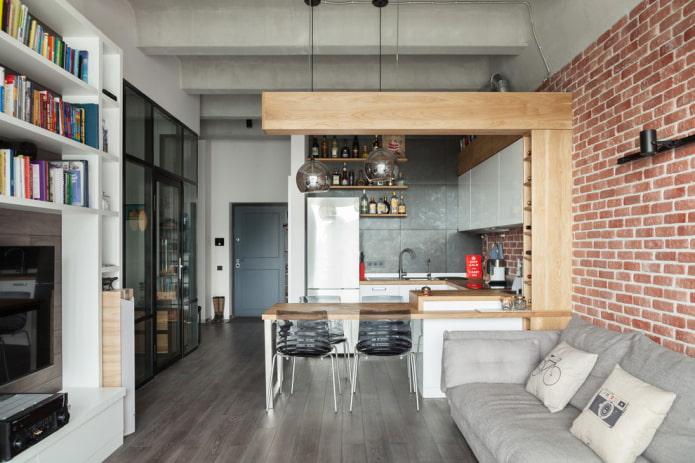 intérieur de studio de style industriel