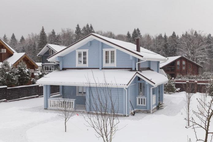 façade de maison dans les tons bleus