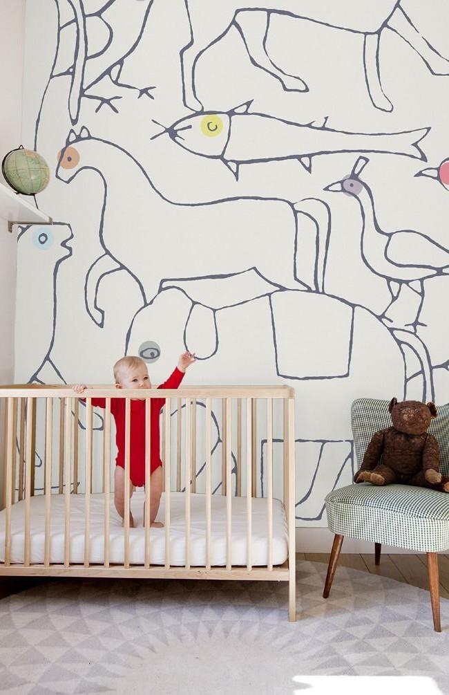 Papier peint cognitif représentant des animaux dans la chambre des tout-petits