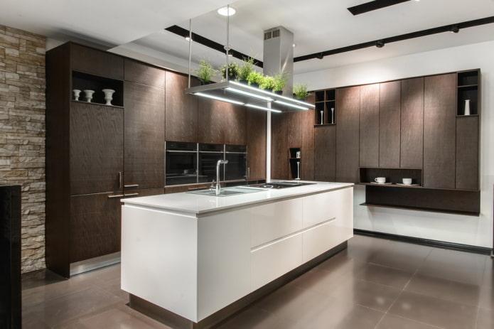 aménagement de la cuisine avec un élément îlot