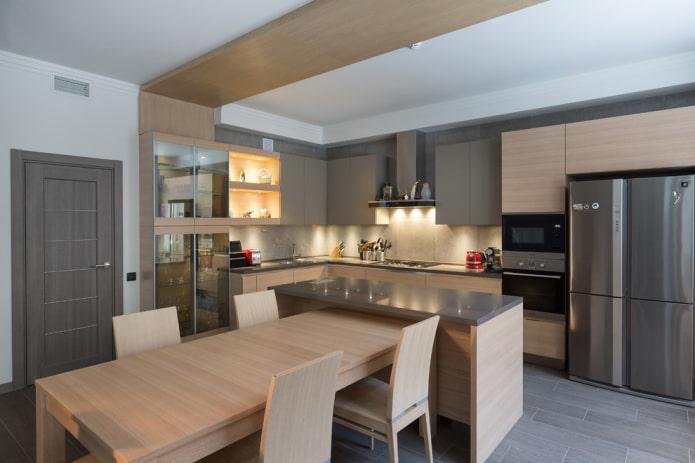 îlot avec table à manger à l'intérieur de la cuisine
