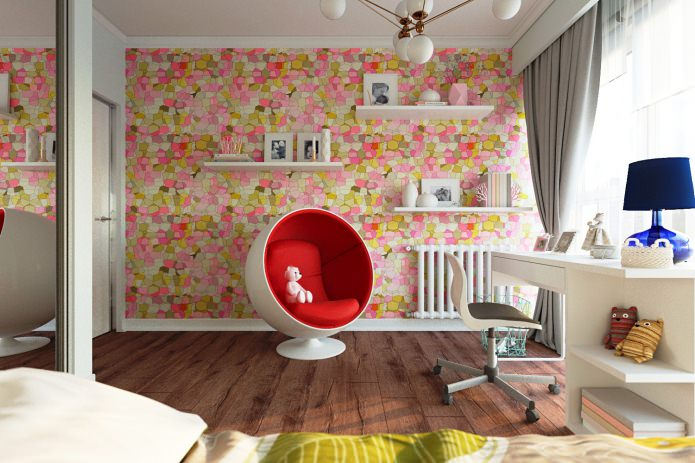 papier peint dans la chambre d'un adolescent