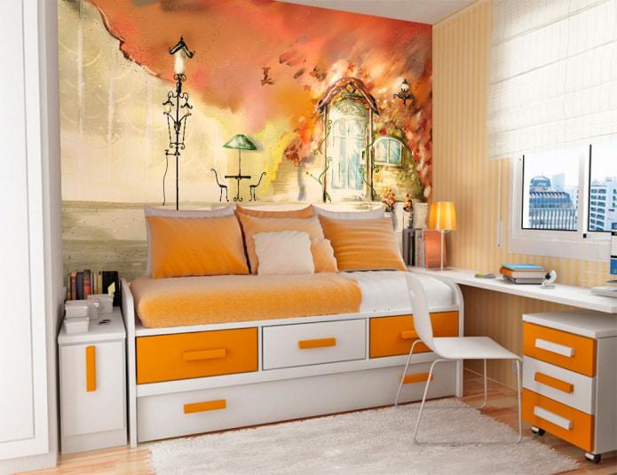 Papier peint orange