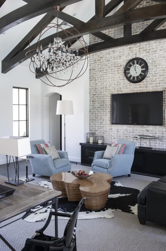Beau salon moderne avec des éléments de style gothique