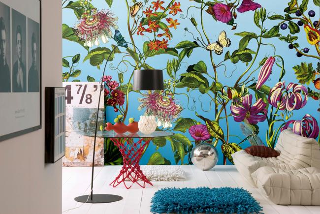 Belle décoration murale avec papier peint photo fleur non tissé