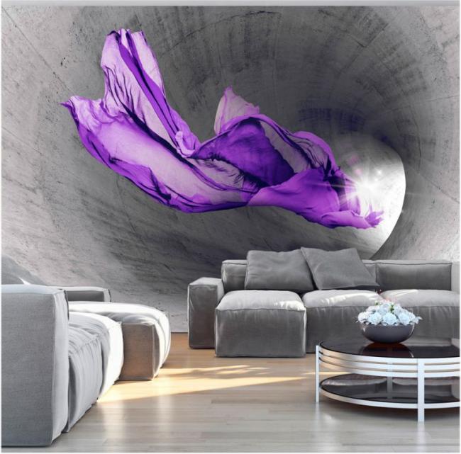 Agrandissement visuel de la pièce à l'aide d'un panneau 3D sur le mur