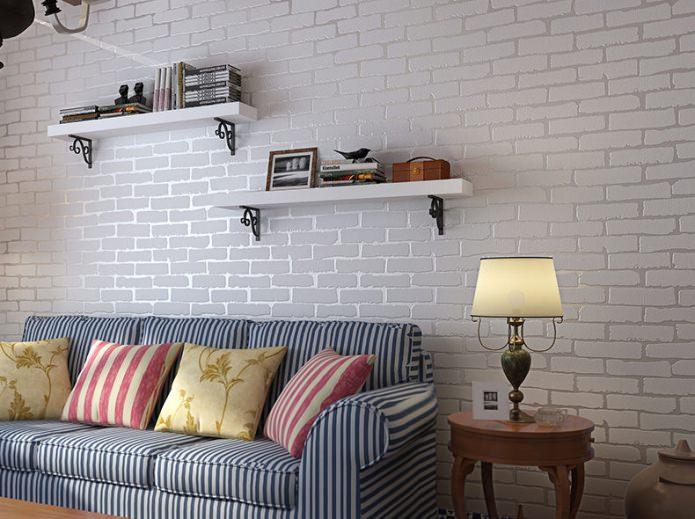 Papier peint sous brique blanche dans la conception du salon
