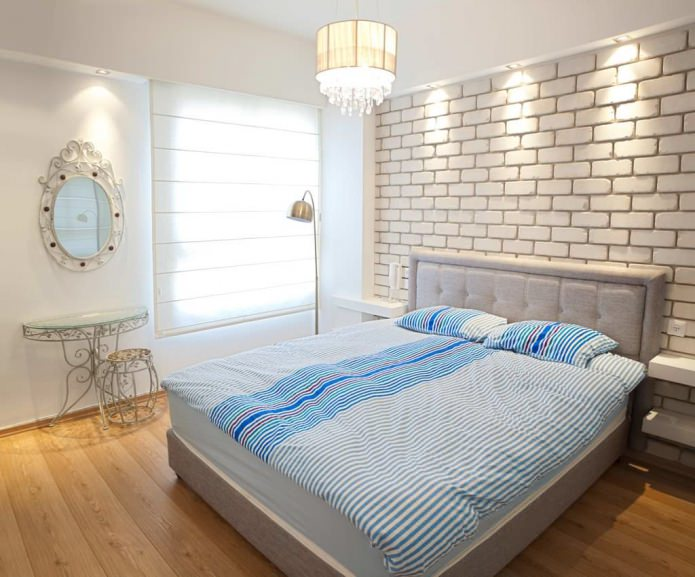 papier peint en brique à l'intérieur de la chambre