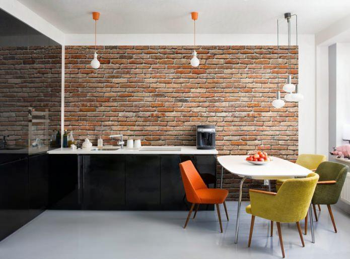 Papier peint sous brique rouge dans la conception de la cuisine
