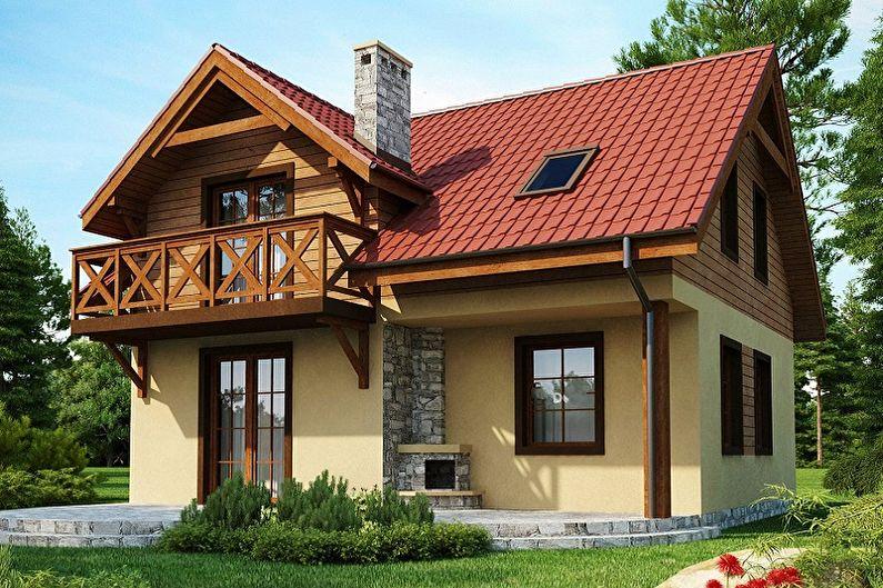 Projets modernes de maisons à deux étages - Maison à deux étages avec un grenier