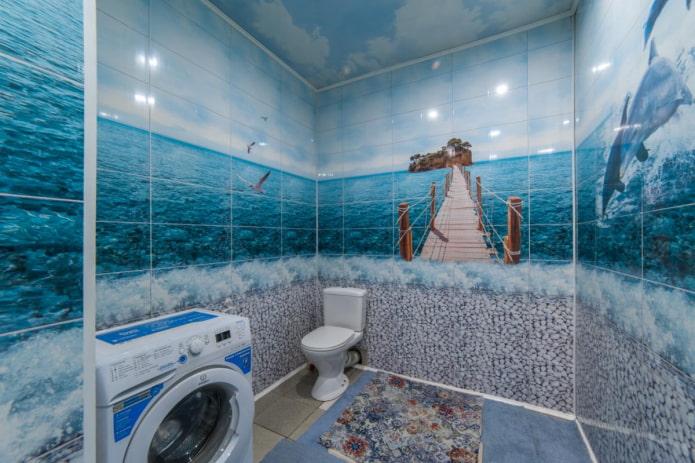 panneaux avec impression photo dans la salle de bain