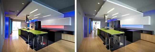 Habilement appliquées dans les cuisines en noir et blanc, les bandes RVB peuvent changer d'apparence en un clic.  La photo montre clairement comment l'apparence générale de la cuisine diffère en fonction de la couleur et de la force de l'éclairage.