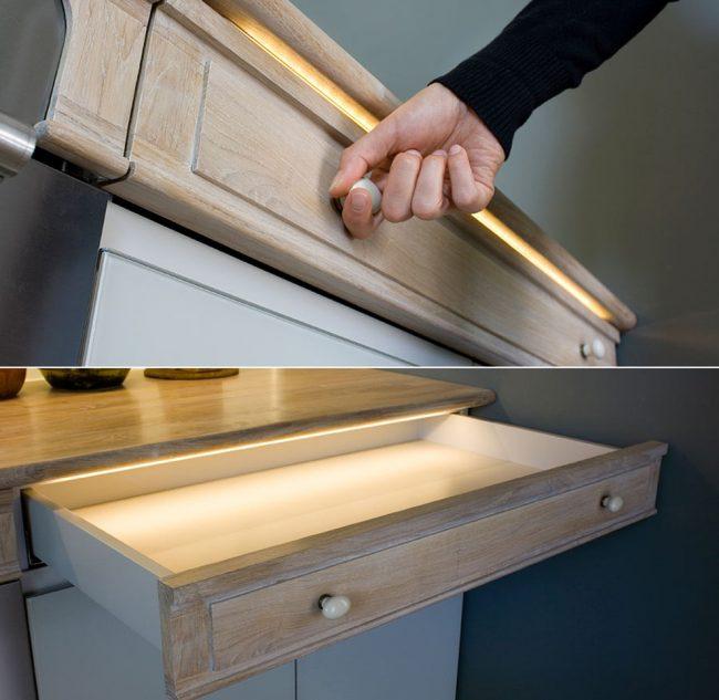 Les bandes de faible intensité conviennent à la décoration intérieure et à l'installation à l'intérieur de tiroirs et d'armoires peu profonds